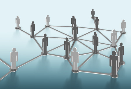 group network: Social network structure. Global network mesh. Group of people talking in social network