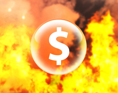Dollar sign in crystal ball on fire Stock Photo