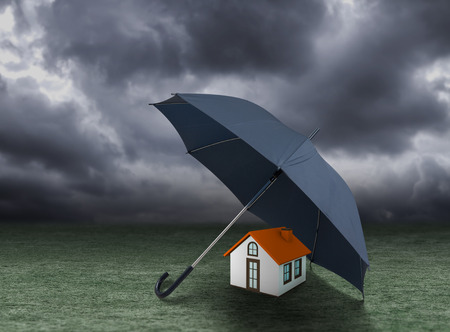 residential home: House insurance concept residential home real estate protection Stock Photo