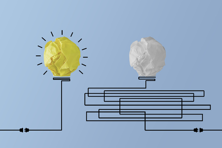 bright light bulb idea vs chaotic light bulb Stock Photo