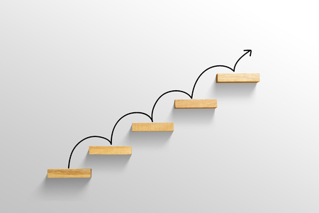 rising arrow on staircase, increasing business