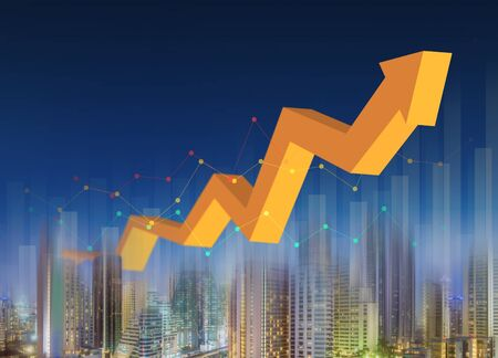 Rising graph with city night background, successful business Banco de Imagens