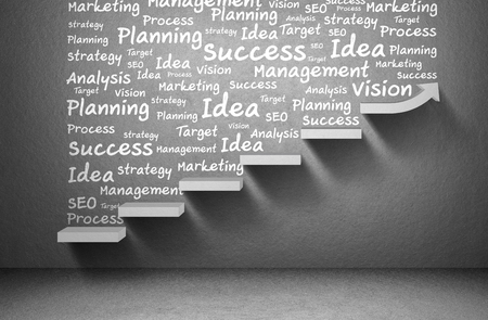 Business plan and strategy and rising arrow graph to success on staircase, business concept