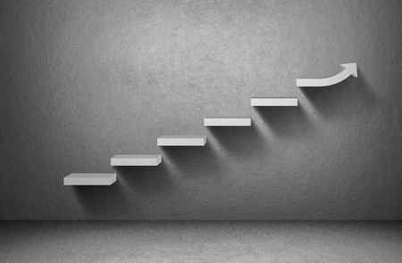 ビジネス コンセプト、灰色の背景にある階段の上昇の矢印グラフ