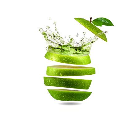 Slice grüner Apfel Spritzwasser, Obst