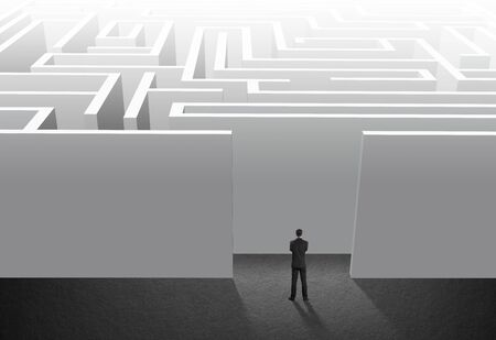 tough: Businessman stand in maze, problem and solution Stock Photo