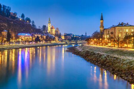 winter sunrise: Beautiful scenic landscape in winter, Salzburg, Austria, Europe, travel
