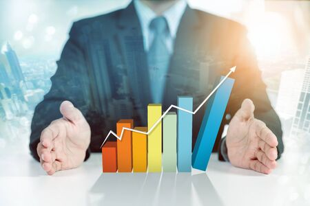 businessman present rising graph, business growth concept