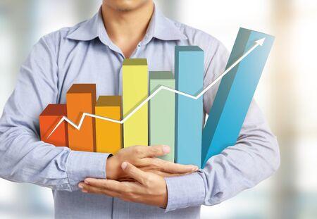 businessman present colorful rising graph Stock Photo