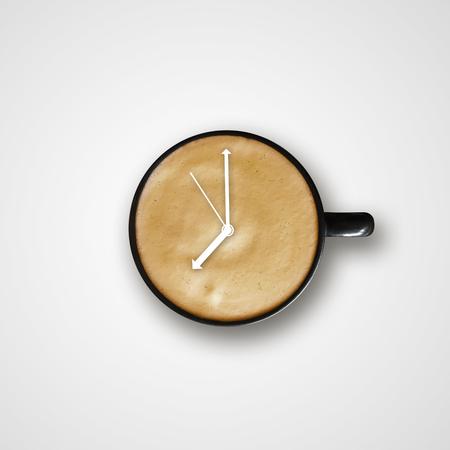 coffee in black mug with alarm clock sign