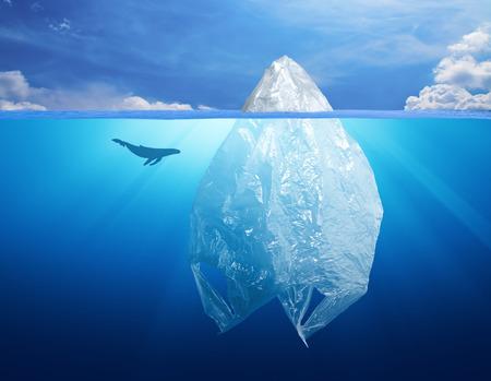 Iceberg de bolsa de plástico con delfines, contaminación ambiental