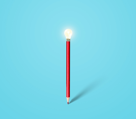 pencil with light bulb, idea and innovation Stock Photo