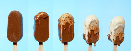 melting melted chocolate ice cream in summer hot weather Stock Photo - 108297330
