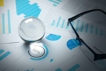 Business trade stock forecast and plan with crystal ball Stock Photo