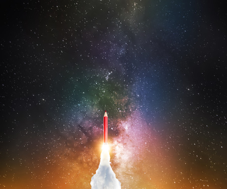 Pencil with jet rocket engine rush to space