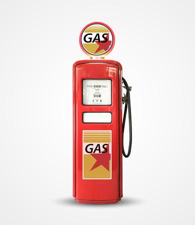 Old vintage gasoline petrol pump isolated on plain