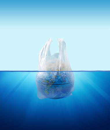 Plastic bag environment pollution with globe model inside 版權商用圖片