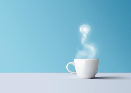 Hot black coffee in white coffee mug with aroma smoke light bulb