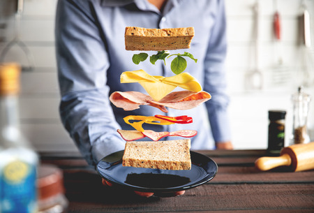 Deconstructed sandwich layers in kitchen