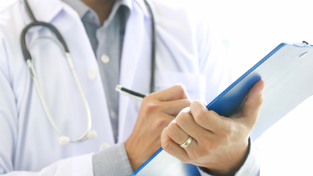 Doctor examine with stethoscope, health care hospital