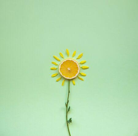 Lemon with flower concept, freshness 版權商用圖片