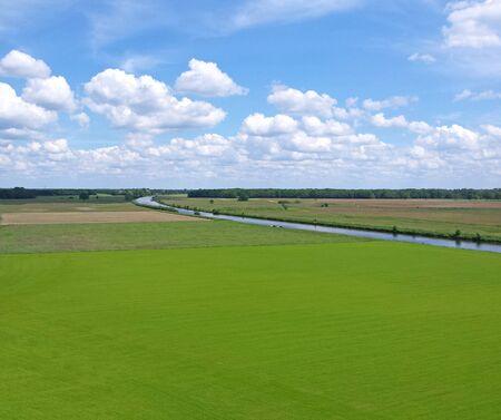 dutch landscape with green grass