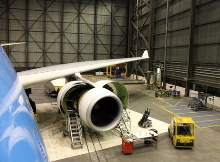 aeronautics: jet plane during maintenance