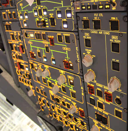 bombardier: aircraft cockpit upper panel Stock Photo