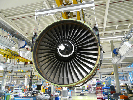 manufacture: jet engine during maintenance Stock Photo