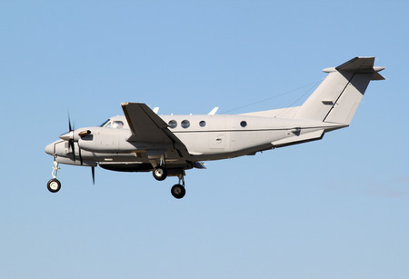 air plane: vip turbo prop plane landing Stock Photo