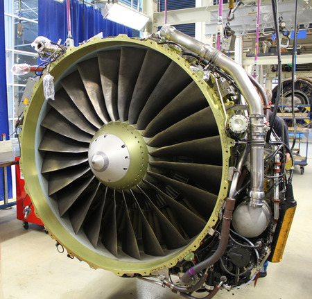 front of a jet engine during maintenance