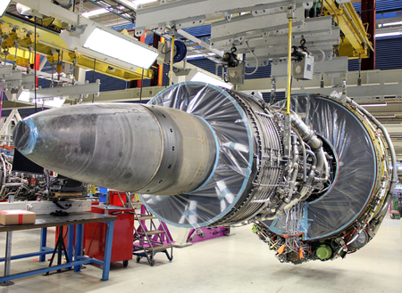 modern jet engine during maintenance