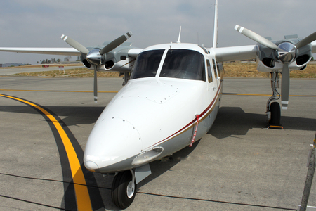 modern prop parked on ramp