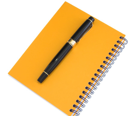 organiser: yellow agenda and fountain pen placed on it