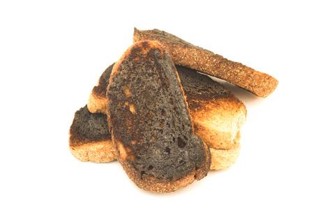 burnt toast: burnt toast over white