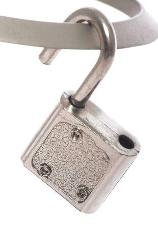 unlocked: image of an unlocked padlock over white Stock Photo