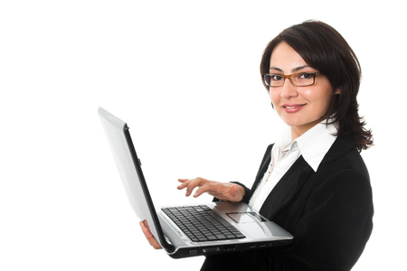 young attractive businesswoman with laptop
