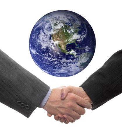 handshake (world image is courtesy of NASA) photo