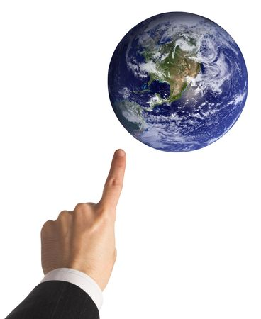 finger tip: businessman is  getting  global (earth image is courtesy of NASA vissible earth) Stock Photo