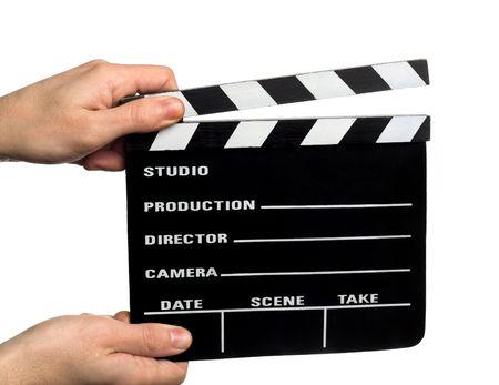 battant: Mains tenant un film Clapper  Banque d'images
