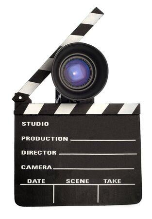 film slate and a vintage movie camera Stock Photo