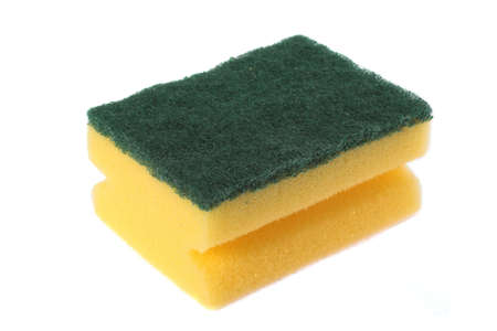 scrubbing up: image of a kitchen sponge isolated on white