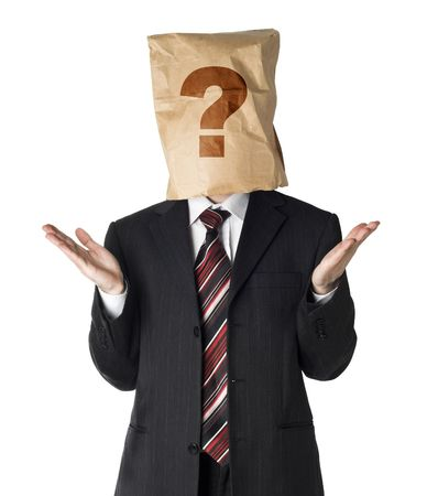 businessman wearing  a paper bag on his had photo