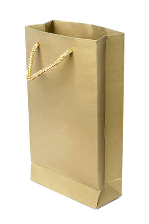 paperbag: yellow paper bag isolate don white