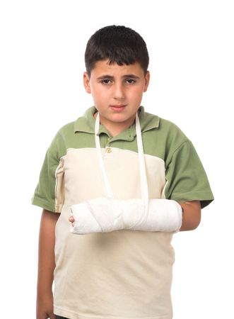 studio isolated image of a boy wearing  plaster Stock Photo