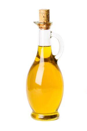 bottled olive oil isolated on white