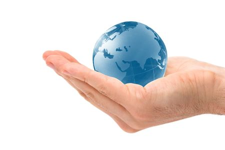 image of a blue globe  held in hand