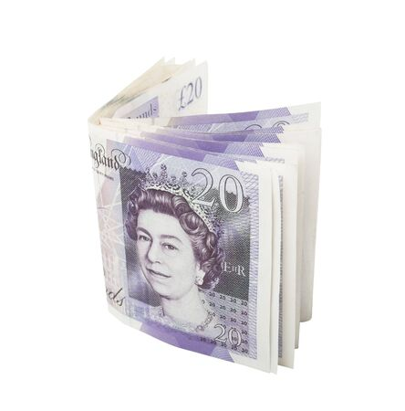 folded twenty pound notes clipping path included Stock Photo