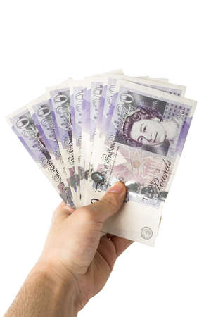 twenty pound notes in hand clipping path included
