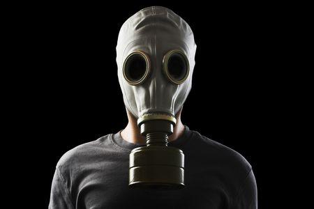 gasmasker: man met gasmasker